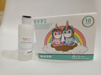 10 mascarillas ffp2 infantiles y gel desinfectante de manos 150 ml
